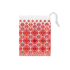 Plaid Red Star Flower Floral Fabric Drawstring Pouches (small)  by Mariart