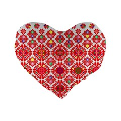 Plaid Red Star Flower Floral Fabric Standard 16  Premium Flano Heart Shape Cushions by Mariart