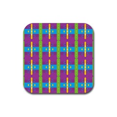 Stripes And Dots                           Rubber Square Coaster (4 Pack by LalyLauraFLM