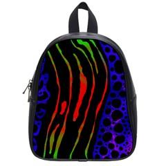 Frog Spectrum Polka Line Wave Rainbow School Bag (small) by Mariart