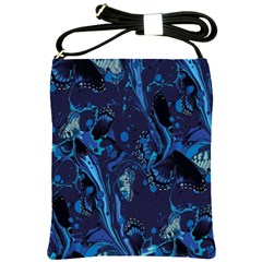Pattern Butterfly Blue Stone Shoulder Sling Bags by Mariart