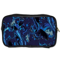 Pattern Butterfly Blue Stone Toiletries Bags 2 Side by Mariart