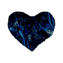 Pattern Butterfly Blue Stone Standard 16  Premium Heart Shape Cushions by Mariart