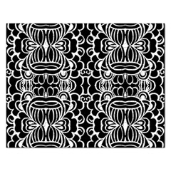 Psychedelic Pattern Flower Black Rectangular Jigsaw Puzzl by Mariart