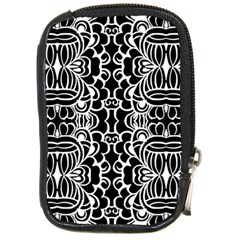 Psychedelic Pattern Flower Black Compact Camera Cases by Mariart