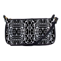 Psychedelic Pattern Flower Black Shoulder Clutch Bags by Mariart