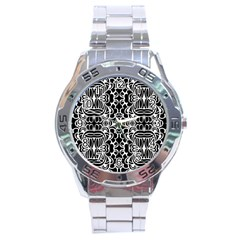 Psychedelic Pattern Flower Black Stainless Steel Analogue Watch by Mariart
