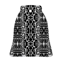 Psychedelic Pattern Flower Black Ornament (bell) by Mariart