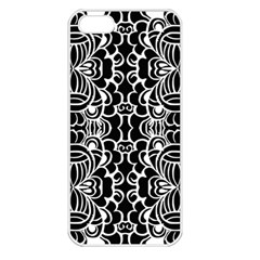 Psychedelic Pattern Flower Black Apple Iphone 5 Seamless Case (white) by Mariart