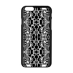 Psychedelic Pattern Flower Black Apple Iphone 6/6s Black Enamel Case by Mariart