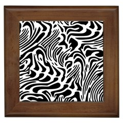 Psychedelic Zebra Black White Line Framed Tiles by Mariart