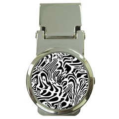 Psychedelic Zebra Black White Line Money Clip Watches by Mariart