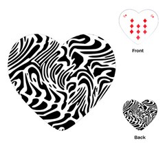 Psychedelic Zebra Black White Line Playing Cards (heart)  by Mariart