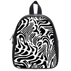 Psychedelic Zebra Black White Line School Bag (small) by Mariart