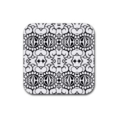 Psychedelic Pattern Flower Crown Black Flower Rubber Square Coaster (4 Pack)  by Mariart