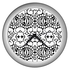 Psychedelic Pattern Flower Crown Black Flower Wall Clocks (silver)  by Mariart