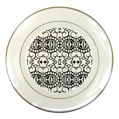 Psychedelic Pattern Flower Crown Black Flower Porcelain Plates by Mariart