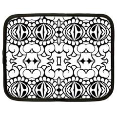 Psychedelic Pattern Flower Crown Black Flower Netbook Case (xxl)  by Mariart