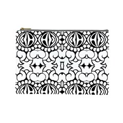 Psychedelic Pattern Flower Crown Black Flower Cosmetic Bag (large)  by Mariart