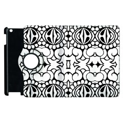 Psychedelic Pattern Flower Crown Black Flower Apple Ipad 2 Flip 360 Case by Mariart