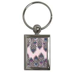 Peacock Feather Pattern Pink Love Heart Key Chains (rectangle)  by Mariart