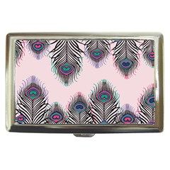 Peacock Feather Pattern Pink Love Heart Cigarette Money Cases by Mariart