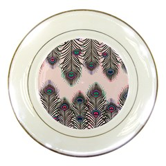 Peacock Feather Pattern Pink Love Heart Porcelain Plates by Mariart