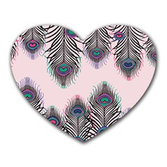 Peacock Feather Pattern Pink Love Heart Heart Mousepads by Mariart