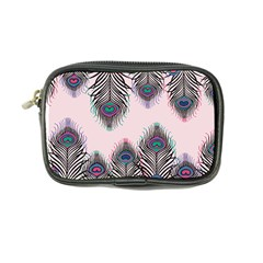 Peacock Feather Pattern Pink Love Heart Coin Purse by Mariart