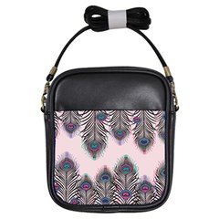 Peacock Feather Pattern Pink Love Heart Girls Sling Bags by Mariart