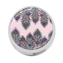 Peacock Feather Pattern Pink Love Heart 4 Port Usb Hub (two Sides)  by Mariart
