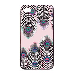 Peacock Feather Pattern Pink Love Heart Apple Iphone 4/4s Seamless Case (black) by Mariart