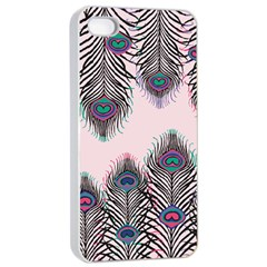 Peacock Feather Pattern Pink Love Heart Apple Iphone 4/4s Seamless Case (white) by Mariart