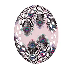 Peacock Feather Pattern Pink Love Heart Oval Filigree Ornament (two Sides) by Mariart