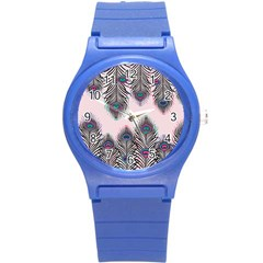Peacock Feather Pattern Pink Love Heart Round Plastic Sport Watch (s) by Mariart
