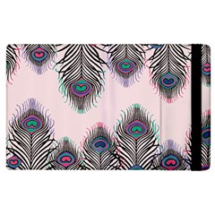 Peacock Feather Pattern Pink Love Heart Apple Ipad 2 Flip Case by Mariart
