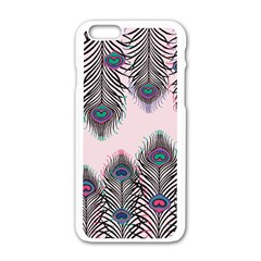 Peacock Feather Pattern Pink Love Heart Apple Iphone 6/6s White Enamel Case by Mariart