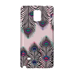 Peacock Feather Pattern Pink Love Heart Samsung Galaxy Note 4 Hardshell Case by Mariart