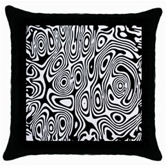 Psychedelic Zebra Black White Throw Pillow Case (black) by Mariart