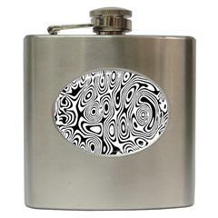 Psychedelic Zebra Black White Hip Flask (6 Oz) by Mariart
