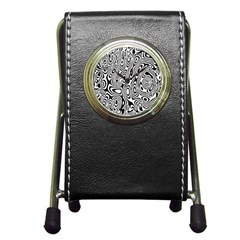 Psychedelic Zebra Black White Pen Holder Desk Clocks by Mariart