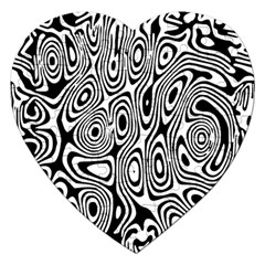 Psychedelic Zebra Black White Jigsaw Puzzle (heart) by Mariart