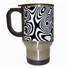 Psychedelic Zebra Black White Travel Mugs (white) by Mariart