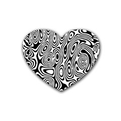 Psychedelic Zebra Black White Rubber Coaster (heart)  by Mariart