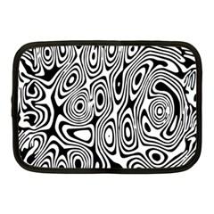 Psychedelic Zebra Black White Netbook Case (medium)  by Mariart