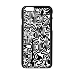 Psychedelic Zebra Black White Apple Iphone 6/6s Black Enamel Case by Mariart