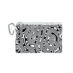 Psychedelic Zebra Black White Canvas Cosmetic Bag (s) by Mariart