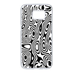 Psychedelic Zebra Black White Samsung Galaxy S7 Edge White Seamless Case by Mariart