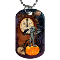 Funny Mummy With Skulls, Crow And Pumpkin Dog Tag (one Side) by FantasyWorld7