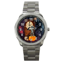 Funny Mummy With Skulls, Crow And Pumpkin Sport Metal Watch by FantasyWorld7